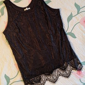 Maurices Black Lace Overlay Tank